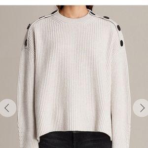 All Saints Crew Neck Button Gray Sweater Small
